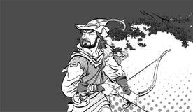 Robin Hood anseende med pilbågen och pilar Robin Hood i bakhåll Försvarare av svagt Medeltida legender Hjältar av medeltida Arkivfoto