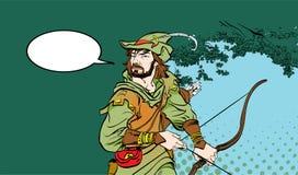 Robin Hood anseende med pilbågen och pilar Robin Hood i bakhåll Försvarare av svagt Medeltida legender Hjältar av medeltida Arkivfoton