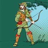 Robin Hood anseende med pilbågen och pilar Robin Hood i bakhåll Försvarare av svagt Medeltida legender Hjältar av medeltida Royaltyfria Foton