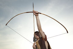 Robin Hood. Archer with arrow and long bow Royalty Free Stock Image