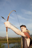 Robin Hood. Archer with arrow and long bow Royalty Free Stock Photo