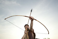 Robin Hood. Archer with arrow and long bow Stock Photos