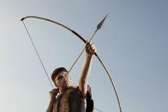 Robin Hood. Archer with arrow and long bow Stock Photo