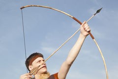 Robin Hood. Archer with arrow and long bow Stock Photo