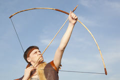 Robin Hood. Archer with arrow and long bow Stock Photos