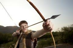 Robin Hood Archer com seta e curva longa imagens de stock royalty free