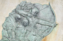 Robin Hood. Basrelief depicting Robin Hood at Nottingham Castle, England Royalty Free Stock Images