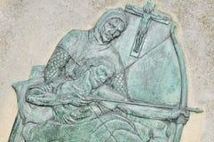 Robin Hood. Basrelief depicting Robin Hood at Nottingham Castle, England stock photos
