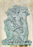 Robin Hood. Basrelief depicting the union of Robin Hood with Maid Marian at Nottingham Castle, England Stock Photography