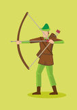 Robin Hood with Bow and Arrows Vector Cartoon Character Illustra Stock Photo