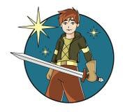 Robin Hood boy with sword Stock Photo