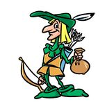 Robin Hood character cartoon illustration Stock Photography
