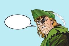 Robin Hood Defensor de débil Leyendas medievales Héroes de leyendas medievales Fondo de semitono ilustración del vector