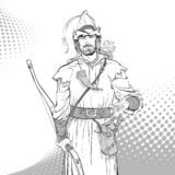 Robin Hood Defensor de d?bil Leyendas medievales H?roes de leyendas medievales Fondo de semitono ilustración del vector