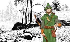 Robin Hood Defensor de d?bil Leyendas medievales H?roes de leyendas medievales Fondo de semitono libre illustration
