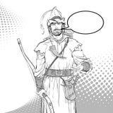 Robin Hood Defensor de d?bil Leyendas medievales H?roes de leyendas medievales Fondo de semitono stock de ilustración