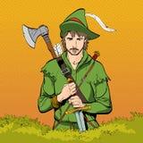 Robin Hood in een hoed met veer Verdediger van zwak Middeleeuwse legenden Helden van middeleeuwse legenden Halftone achtergrond stock afbeelding