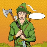 Robin Hood en un sombrero con la pluma Defensor de débil Leyendas medievales Héroes de leyendas medievales Fondo de semitono Fotografía de archivo libre de regalías