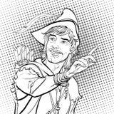Robin Hood en un sombrero con la pluma Defensor de débil Leyendas medievales Héroes de leyendas medievales Fondo de semitono Imagen de archivo libre de regalías