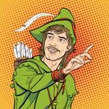 Robin Hood en un sombrero con la pluma Defensor de débil Leyendas medievales Héroes de leyendas medievales Fondo de semitono Imagenes de archivo