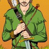 Robin Hood en un sombrero con la pluma Defensor de débil Leyendas medievales Héroes de leyendas medievales Fondo de semitono Fotos de archivo libres de regalías
