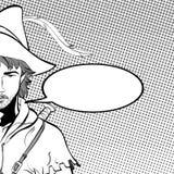 Robin Hood en un sombrero con la pluma Defensor de débil Leyendas medievales Héroes de leyendas medievales Fondo de semitono Imagen de archivo