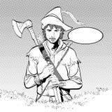 Robin Hood en un sombrero con la pluma Defensor de débil Leyendas medievales Héroes de leyendas medievales Fondo de semitono Foto de archivo libre de regalías