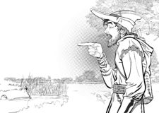 Robin Hood en un sombrero con la pluma Defensor de débil Leyendas medievales Héroes de leyendas medievales Fondo de semitono libre illustration