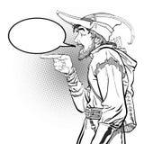 Robin Hood en un sombrero con la pluma Defensor de débil Leyendas medievales Héroes de leyendas medievales Fondo de semitono ilustración del vector