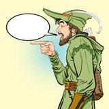 Robin Hood en un sombrero con la pluma Defensor de débil Leyendas medievales Héroes de leyendas medievales Fondo de semitono stock de ilustración