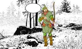 Robin Hood en un sombrero con la pluma Defensor de d?bil Leyendas medievales H?roes de leyendas medievales Fondo de semitono ilustración del vector