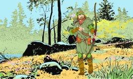 Robin Hood en un sombrero con la pluma Defensor de d?bil Leyendas medievales H?roes de leyendas medievales Fondo de semitono libre illustration