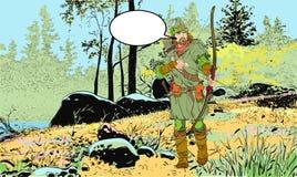 Robin Hood en un sombrero con la pluma Defensor de d?bil Leyendas medievales H?roes de leyendas medievales Fondo de semitono stock de ilustración