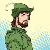 Robin Hood Försvarare av svagt Medeltida legender Hjältar av medeltida legender för illustrationlogo för bakgrund rastrerad vekto Royaltyfri Bild