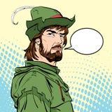 Robin Hood Försvarare av svagt Medeltida legender Hjältar av medeltida legender för illustrationlogo för bakgrund rastrerad vekto Royaltyfria Bilder