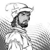 Robin Hood Försvarare av svagt Medeltida legender Hjältar av medeltida legender för illustrationlogo för bakgrund rastrerad vekto Royaltyfri Fotografi
