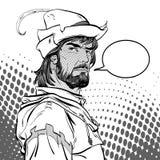 Robin Hood Försvarare av svagt Medeltida legender Hjältar av medeltida legender för illustrationlogo för bakgrund rastrerad vekto Fotografering för Bildbyråer