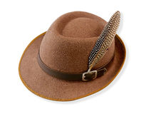Robin Hood hat with bird feather isolated. Old fashioned hat style looks like Robin Hood hat  decorates by bird feather, the image isolated on white Royalty Free Stock Images