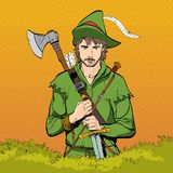 Robin Hood in a hat with feather. Defender of weak. Medieval legends. Heroes of medieval legends. Halftone background. Robin Hood in a hat with feather. Young Stock Image