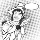 Robin Hood i en hatt med fjädern Försvarare av svagt Medeltida legender Hjältar av medeltida legender för illustrationlogo för ba Arkivbilder
