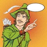Robin Hood i en hatt med fjädern Försvarare av svagt Medeltida legender Hjältar av medeltida legender för illustrationlogo för ba Royaltyfri Foto