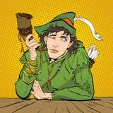 Robin Hood i en hatt med fjädern och ett horn Tvivla Robin Hood Defender av svagt Medeltida legender Hjältar av medeltida Arkivbild