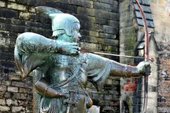 Robin Hood. Medieval statue of Robin Hood in front of the Nottingham Castle in England Stock Image