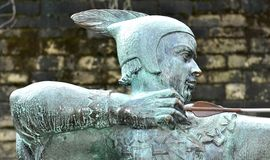 Robin Hood. Medieval statue of Robin Hood in front of the Nottingham Castle in England Stock Photo