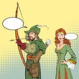 Robin Hood que aponta no alvo Legendas medievais Heróis de legendas medievais Senhora no vestido medieval ilustração do vetor