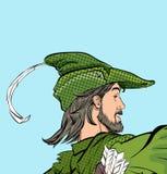 Robin Hood que marcha Robin Hood en un sombrero con la pluma Defensor de d?bil Leyendas medievales H?roes de leyendas medievales stock de ilustración