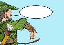 Robin Hood que marcha Robin Hood en un sombrero con la pluma Defensor de d?bil Leyendas medievales H?roes de leyendas medievales libre illustration