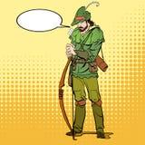 Robin Hood que se coloca con el arco y las flechas Defensor de débil Leyendas medievales Héroes de leyendas medievales halftone Imagenes de archivo