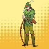 Robin Hood que se coloca con el arco y las flechas Defensor de débil Leyendas medievales Héroes de leyendas medievales halftone Foto de archivo