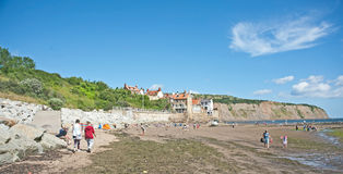 Robin Hood's Bay. And beach in Yorkshire on north east coast of England Royalty Free Stock Image